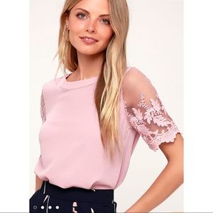 Lulu's Mauve Pink Embroidered Top